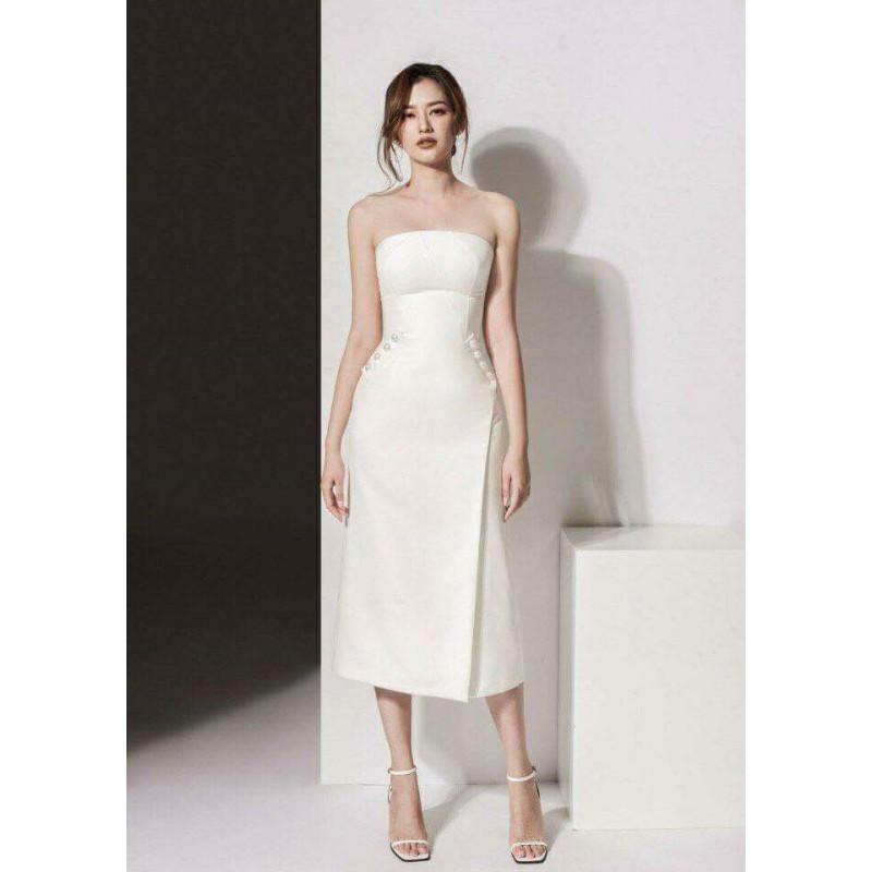 Đầm ống trắng chữ a ngọc trai 1291