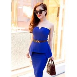 Blue dress with neckline 336