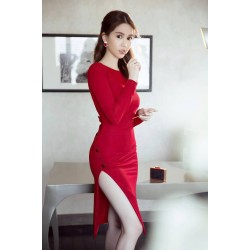 Split red dress
