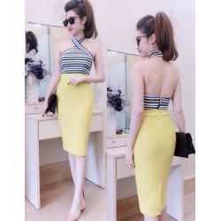 Yellow skirt and striped top set