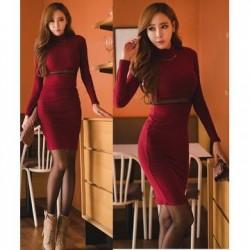 Đầm body len đỏ 680